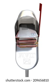 An open old school retro tin mailbox bulging with a stack of letters and envelopes crammed into it on an isolated background