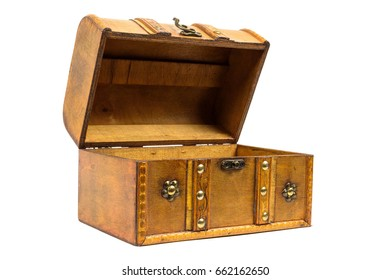 Open old wooden chest isolated on white background with clipping path