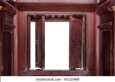 Open old wooden door, copy space white background