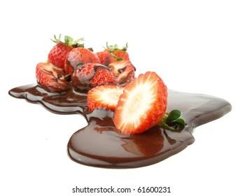Open on chocolate strawberries