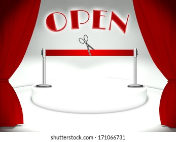 Open on theater stage, red ribbon and scissors