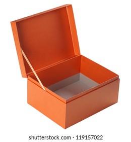Open orange paper box isolated on white
