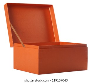 Open orange paper box isolated on white
