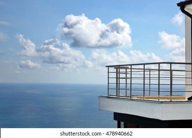 Open Outdoor Balcony With Metal Silver Railings Of Modern Building Or Hotel  With Amazing Sea View