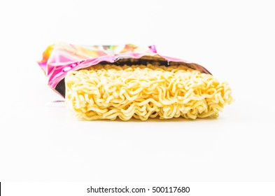 Open Pack of instant noodles isolated on white background