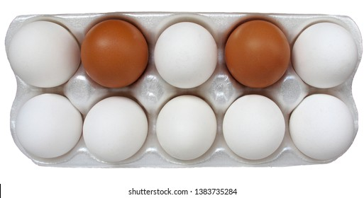 An open package of eight white and two red chicken eggs
