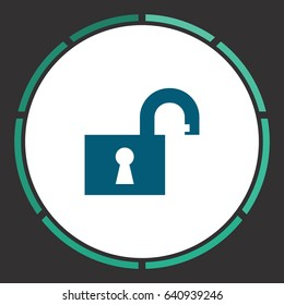 Open padlock. Flat simple Blue pictogram in a circle. Illustration icon