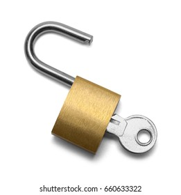Open Padlock with Key Isolated on White Background.