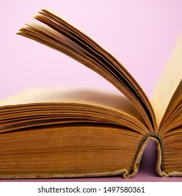 Open pages of an old book on a lilac background. Web banner, for your design.