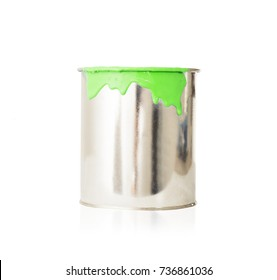 open, painted bucket on a white backdrop.