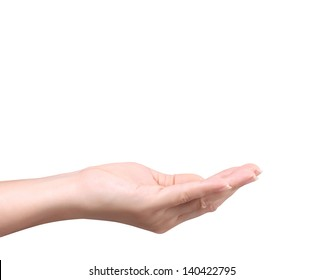 Open palm hand gesture isolated on white background