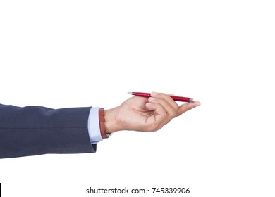 Open palm hand gesture of male hand on white background