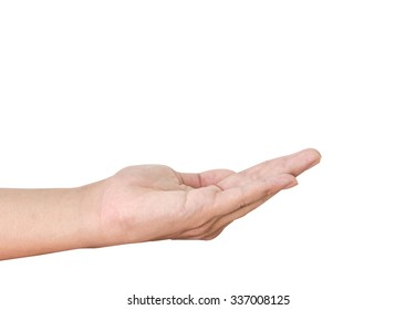 Open palm hand isolated on a white background
