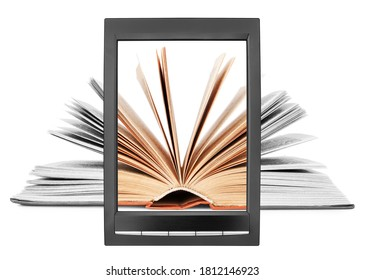Open paper book flipping pages on electronic book display white background isolated close up, textbook turning pages on e-book screen, e-reader tablet, ebook digital library, ereader education concept
