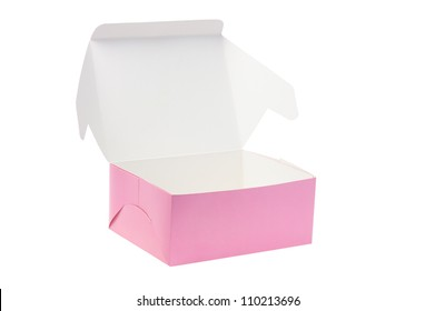 Open Paper Box for Cookies or Cakes on White Background