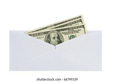 open a paper envelope with the hundred dollar bils. isolated on white