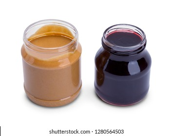 Open Peanut Butter and Jelly Jar Isolated on White Background.