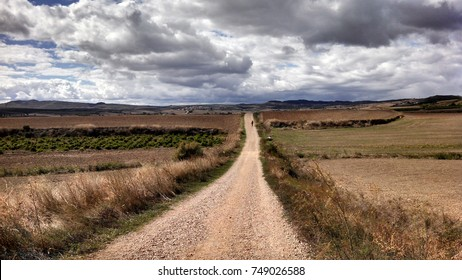 Open Pilgrim route along Camino de Santiago in Spain