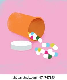 Open Pill Bottle and Pills