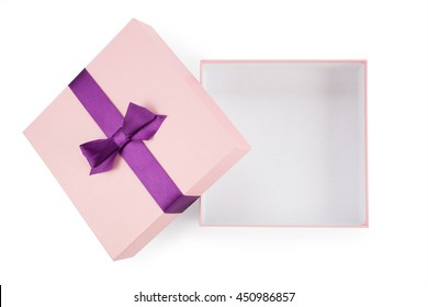 Open the pink box with bow top view isolated