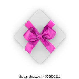 Open pink gift box for Valentine day top view white background 3d rendering