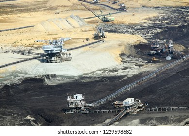 open pit coal mine with excavators and machinery Kostolac Serbia