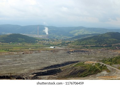 open pit coal mine and thermal power plant Pljevlja Montenegro