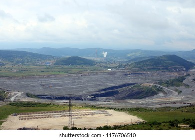 open pit coal mine and thermal power plant
