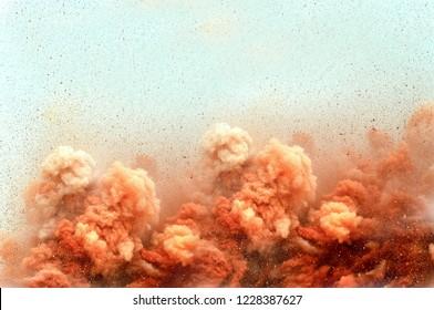 The open pit mine blasting