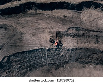 Open pit mine, extractive industry for coal, Russia, Kemerovo. Excavator at work.