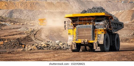 Offene Grubenbergbau-Industrie, großer gelber Bergbauwagen für Kohleanthrazit.