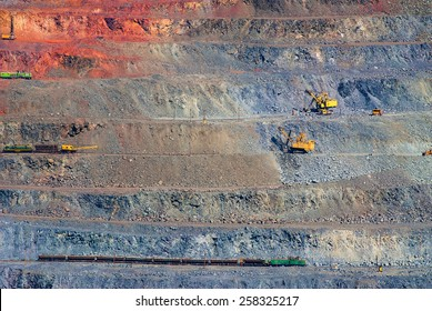 Open pit mining of iron ore and magnetite ores. Located in Kryvyi Rih eastern Ukraine. Europe.