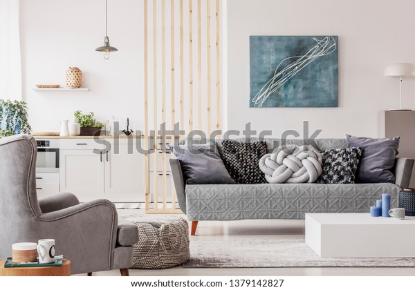 Open Plan Studio Apartment Small White Stock Image