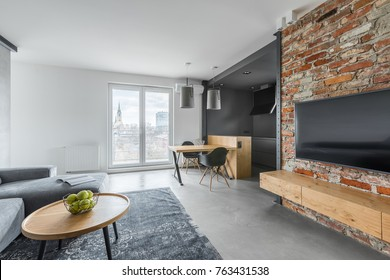 Open plan studio with tv screen on exposed brick wall
