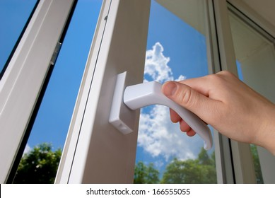 open plastic vinyl window on a background blue sky