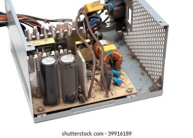 Open Power Supply Unit covered with dust