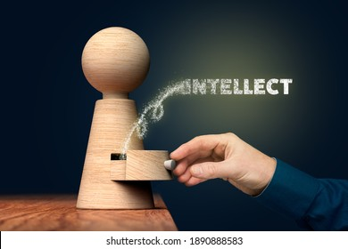 Open power of your intellect concept, motivational personal development concept.