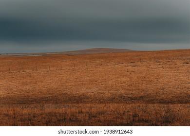 Open prairie in Kansas in dramatic lighting