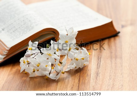 Open Prayerbook Some Flowers On Wooden Stock Photo (Edit Now