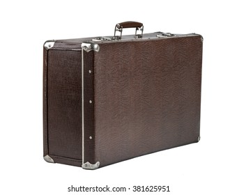 open rarity brown leather suitcase, on white background; isolated