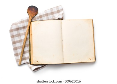 open recipe book on white background