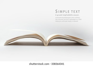 Open Recycled book on white background
