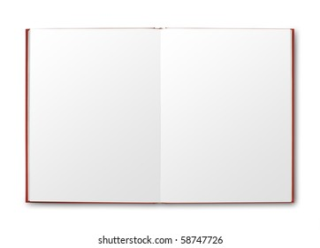 Open red book with blank pages. isolated with shadow and clipping path