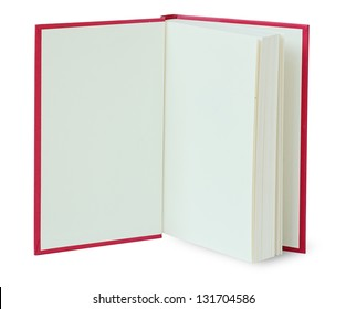 Open red book isolated on white with clipping path