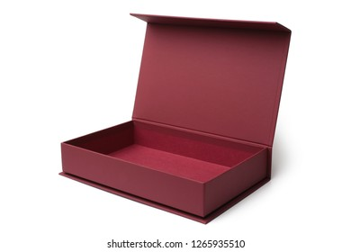 Open red box on white background