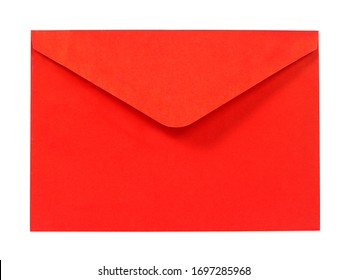Open red envelope isolated on white background