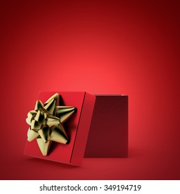 open red gift box with golden ribbon 3d render on red background