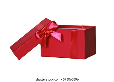 open red gift box on a white background