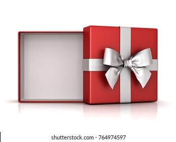 Open red gift box or present box with silver ribbon bow and empty space in the box isolated on white background with shadow and reflection . 3D rendering.