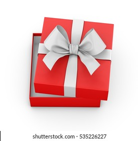 Open red gift box ribbon top view white background for Christmas and New Year's Day 3d rendering